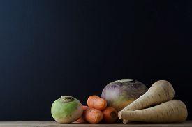 picture of turnip greens  - Still life arrangement of root vegetables  - JPG