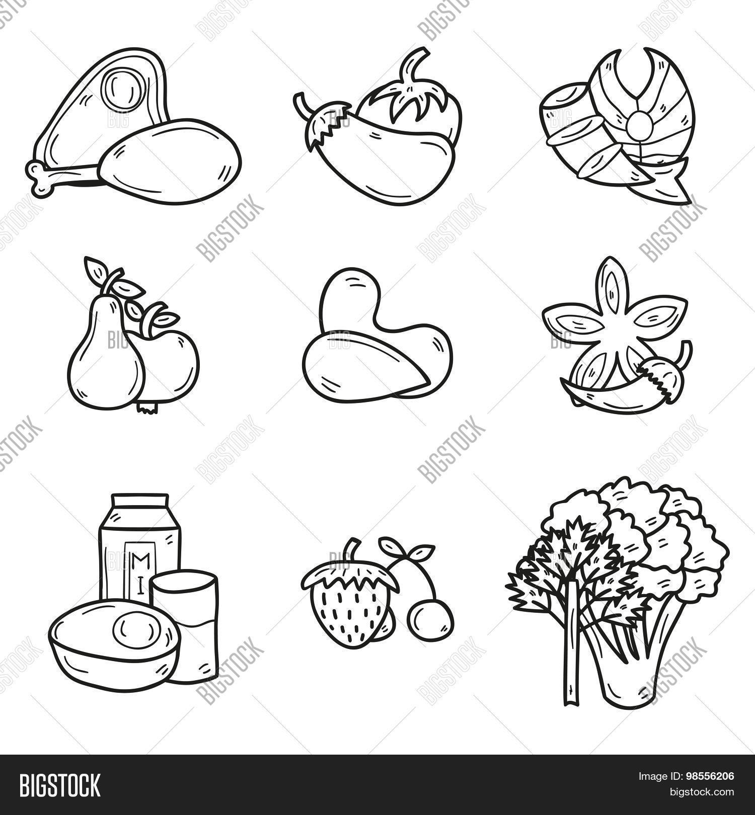 set of objects in hand drawn outline style on paleo diet theme meat fish