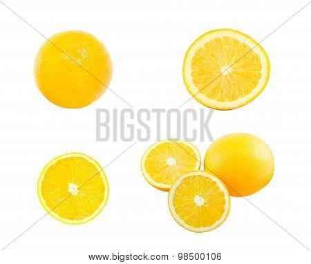 Pack of orange and orange slice isolate on white with work path