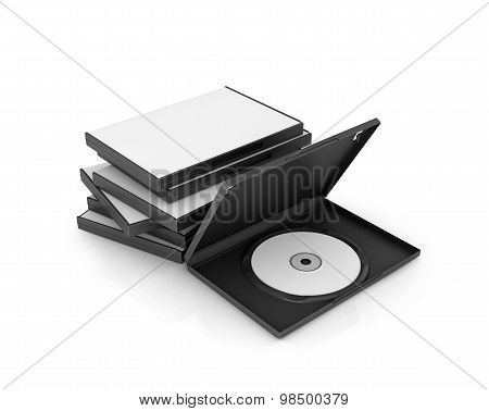 Boxes Dvd And Cd Discs, White Disk, Isolated On White Background