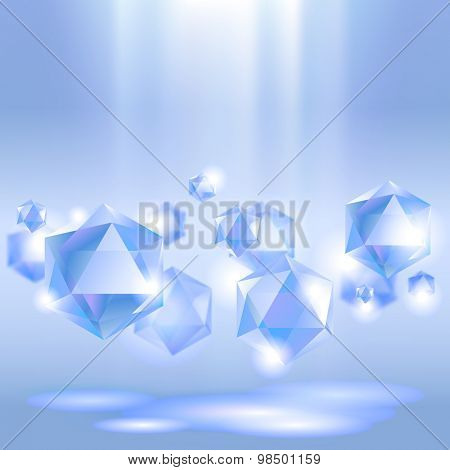 Diamond background under blue light