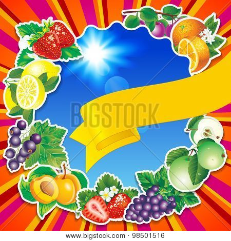 Fruits background with yellow ribbon and blue sky