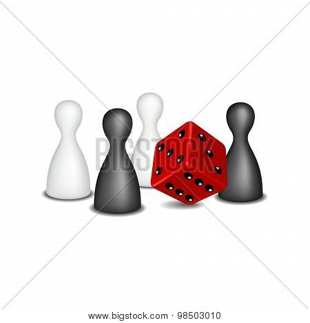 Board game figures in black and white design and red dice