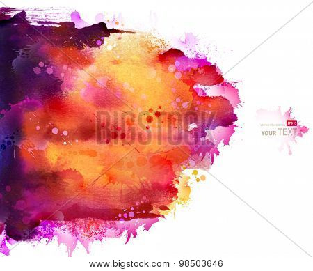 Bright watercolor stains with pink, orange, violet  blots