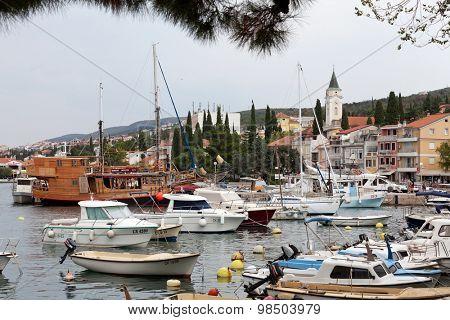 SELCE, CROATIA - JULY 24, 2015: Cloudy day at marina in Selce, Croatia
