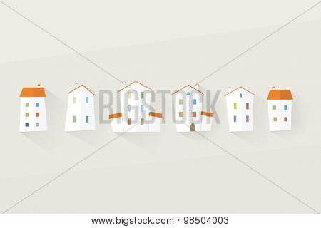house icon set. flat design
