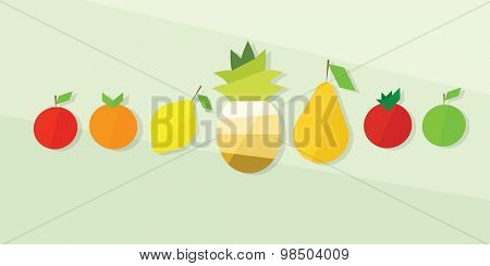 fruit icon set. flat design