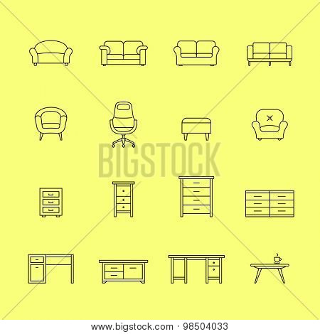 Furniture icons. Icons for furniture market. Linear style