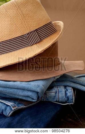 Jeans and Leather Hat