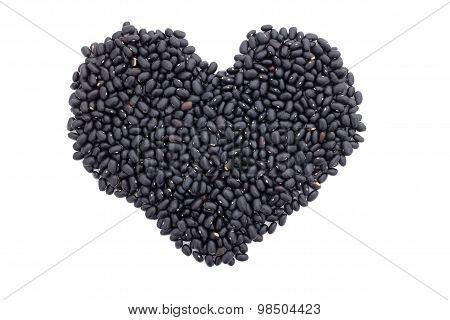 Black Turtle Beans In A Heart Shape