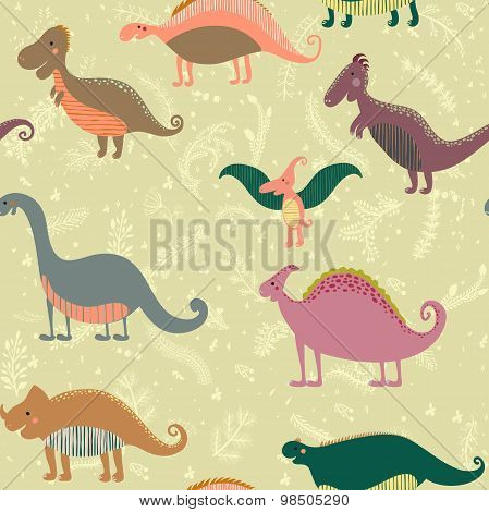 Seamless pattern with set funny dinosaurs in cartoon. Can be used for wallpapers, pattern fills, web
