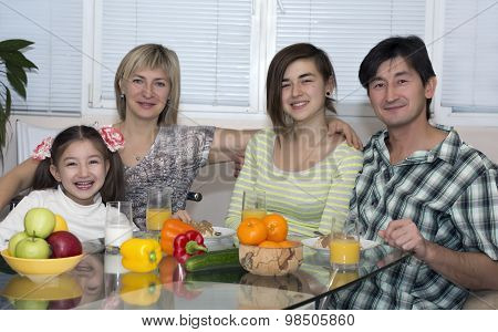 Breakfast of family with mix race different nationality people