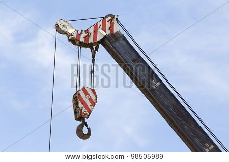 Crane Hook Against Blue Sky