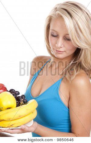 Woman Fruit Plate Look Down