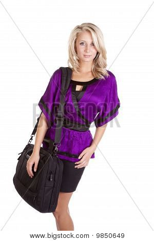 Woman Purple Holding Bag Serious