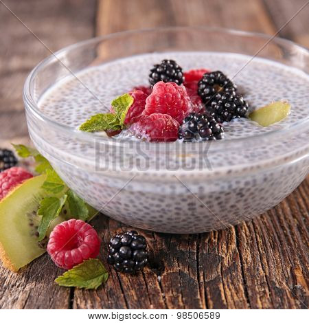 chia seed pudding with fruits