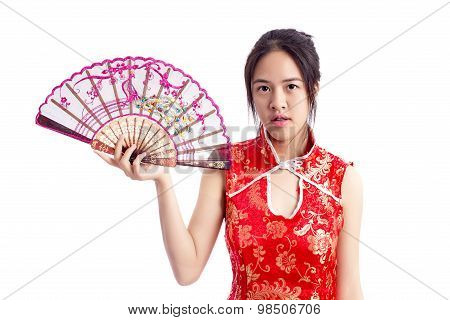 Chinese Woman Red Dress Traditional Cheongsam