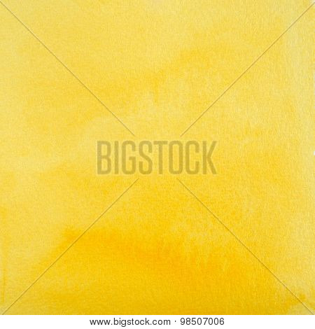 Yellow Watercolor Abstraction As Background, Hand Drawn And Painted