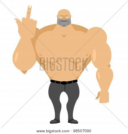 Strong Man In Jeans With Big Muscles Shows Fuck. Angry, Wicked Roughneck, Aggressive Tough. Vector I