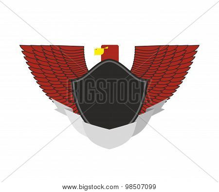 Red Eagle On Military Emblem. Bird With Wings And Black Shield. Vector Logo.