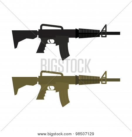 Army Military Machine Gun. Set Of Two Martial Infantry Weapons. Rifles Soldier Of  Special Squad. Ve