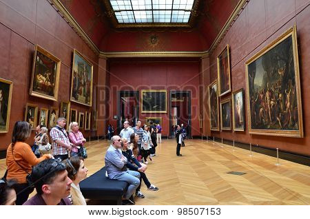Paris, France - May 13, 2015: Visitors Visit Rubens Paintings In Louvre Museum