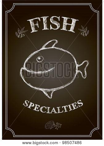 vector Blackboard fish restaurant menu card