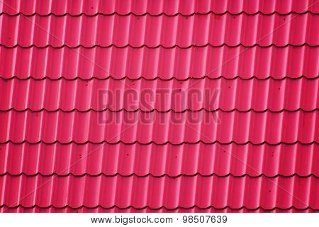 Roof Covered With Red Corrugated Metal Tiles