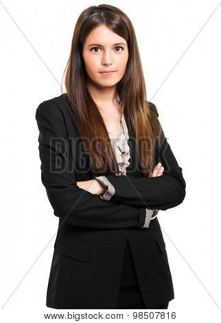 Smiling young female manager isolated on white
