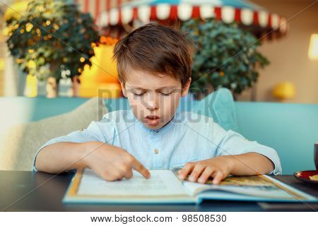 Cute little boy reading book