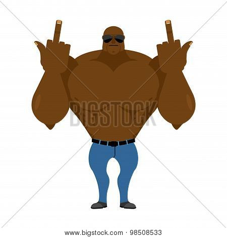 Big Strong Man. Bodybuilder In Jeans Shows Fuck. Hooligan In dark glass Hostile. Vector Illustration