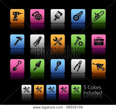 Tools Icons // ColorBox Series ---- The Vector file includes 5 color versions for each icon in different layers --