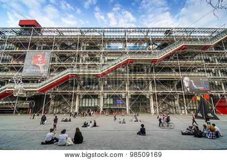 Paris, France - May 14, 2015: People Visit Centre Of Georges Pompidou On May 14, 2015 In Paris