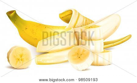 Ripe yellow bananas with slices. Vector illustration.