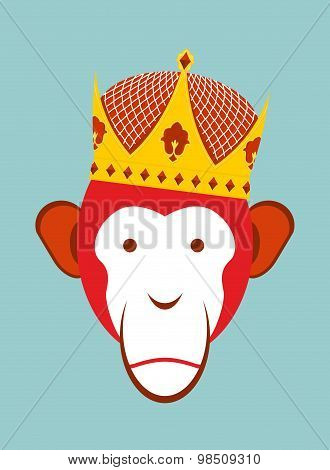 Red Monkey In Imperial Crown. Chimpanzee Head Is A Symbol Of Chinese New Year. Vector Illustration O
