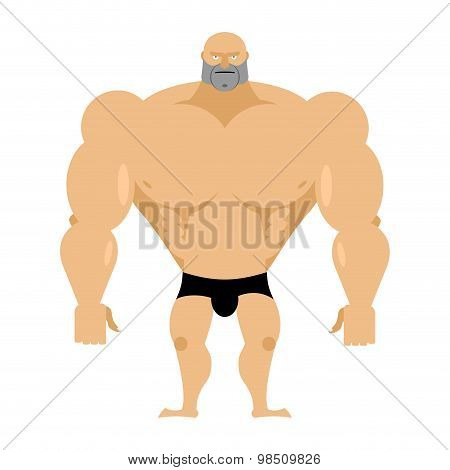 Bodybuilder On A White Background. Strong Big Man. Athlete With Big Muscles. Vector Illustration Man