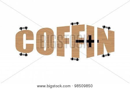 Text In Form Of Coffin.  Logo Emblem For The Funeral Agency. Vector Illustration