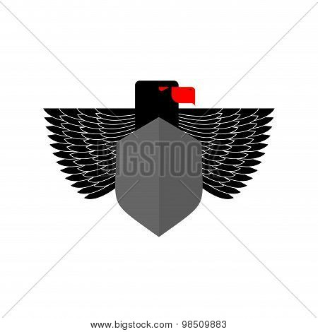 Eagle Coat Of Arms. With Space For Text. Emblem Black Scary Bird With Wings. Vector Illustration Of