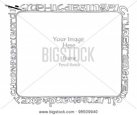 Word Alphabet Picture Frame Freehand Pencil Sketch