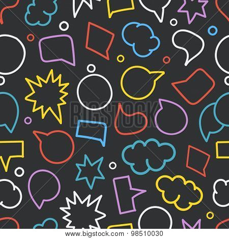 Abstract hand-drawn doodle speech clouds. Vector seamless background