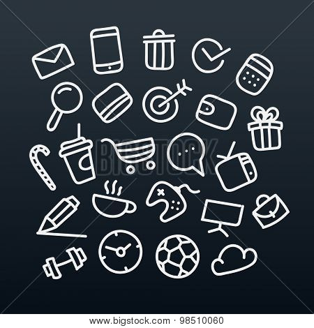 Abstract hand-drawn doodle icons set. Vector design elements