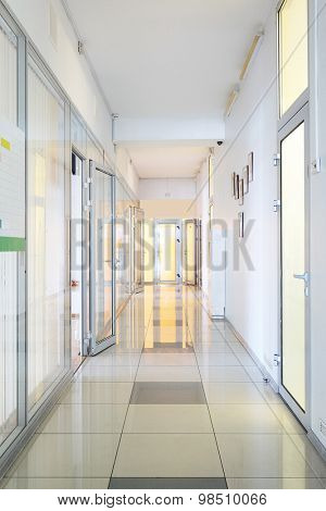 Interior of a corridor in the medical center or office center