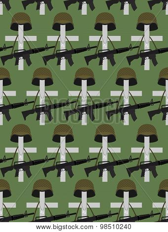 Military Cemetery. Vector Background Of Memorial Day. Crosses With Soldiers Helmets. Accessories A M