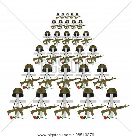 Soldiers  Graves. Many Military Crosses. Vector Illustration For Memorial Day. Flowers Graves Of Mil