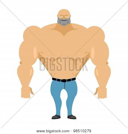 Strong Man Bare-chested In Blue Jeans. Athletic Body With Huge Muscles. Bodybuilder On A White Backg