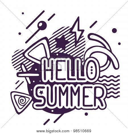 Vector Illustration Of Black And White Hello Summer Quote On Abstract Background.
