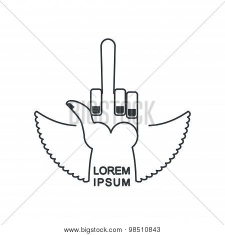 Tattoo Fuck Logo. Linear Emblem Hand With A Finger For  Bad Guys. A Nasty Gesture For A Tattoo. Vect