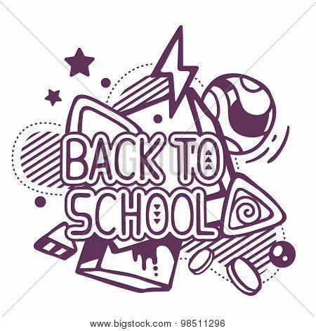 Vector Illustration Of Black And White Back To School Quote On Abstract Background.