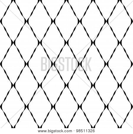 Black And White Geometric Seamless Pattern With Ripple Stripe, Abstract Background.