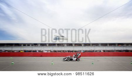 HOCKENHEIM, GERMANY - AUGUST 1, 2015: The world championships of the annual formula student design competion, or electronic and combustion race cars, is held on the Hockenheim circuit in Germany